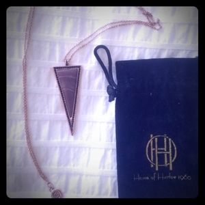 HOUSE OF HARLOW 1960 LONG ROSE GOLD PENDANT